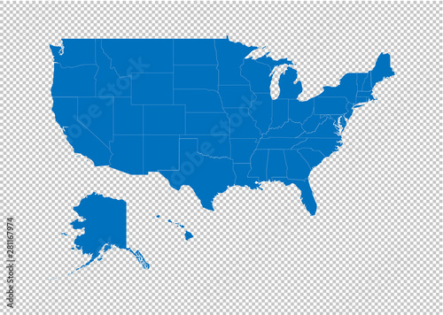 Obraz United state of america map - High detailed blue map with counties/regions/states of United state of america. United state of america map isolated on transparent background. - fototapety do salonu