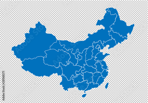 china map - High detailed blue map with counties/regions/states of china Canvas Print