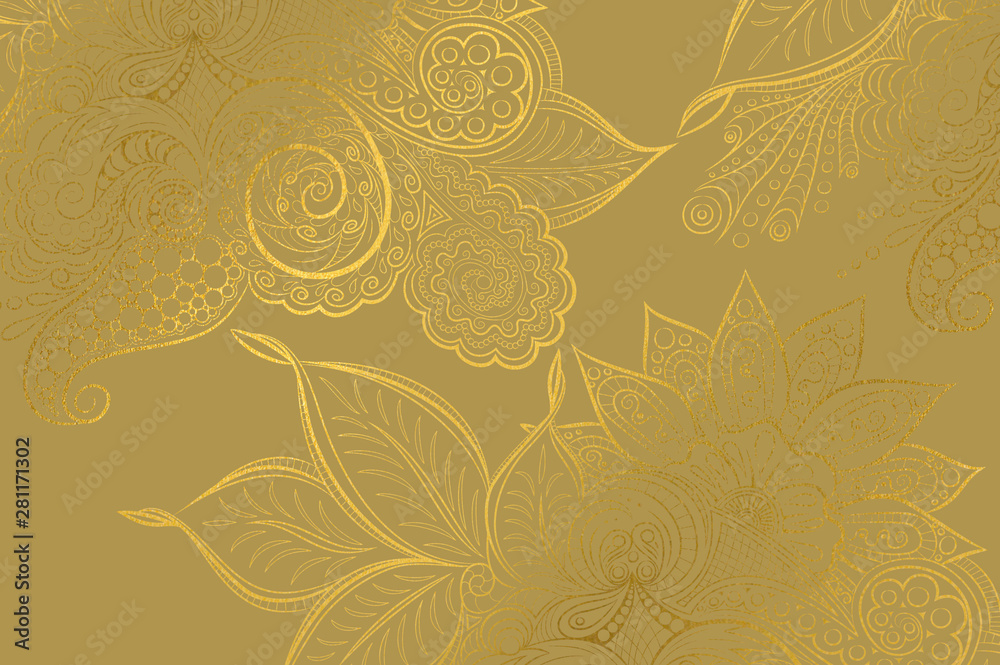 Fototapety, obrazy: Abstract golden background with mandala decorations and beautiful lights effects.
