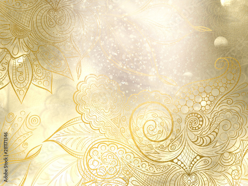 Abstract golden background with mandala decorations and beautiful lights effects.