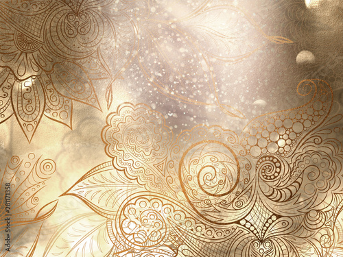 Fotografie, Obraz  Abstract bronze background with mandala decorations and beautiful lights effects