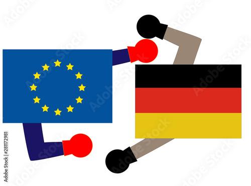 Canvas Print ドイツとEUとの関係を表している。