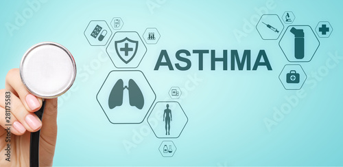 Fototapeta Asthma diagnosis, medical doctor with stethoscope and virtual screen