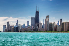 Chicago City Skyline At Sunny Summer Day From Lake Michigan, Chicago, Illinois, USA.