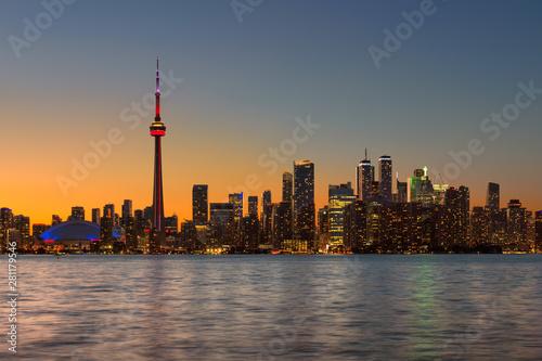 Toronto city skyline at summer sunset in Toronto, Ontario, Canada Wallpaper Mural