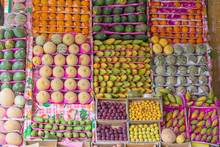 Colorful Organic Fruits In The Street Market. Healthy Food. Sharm El Sheikh, Egypt