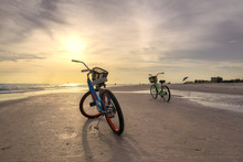 Sunset Beach And Bicycle In Siesta Key Beach, Sarasota, Florida