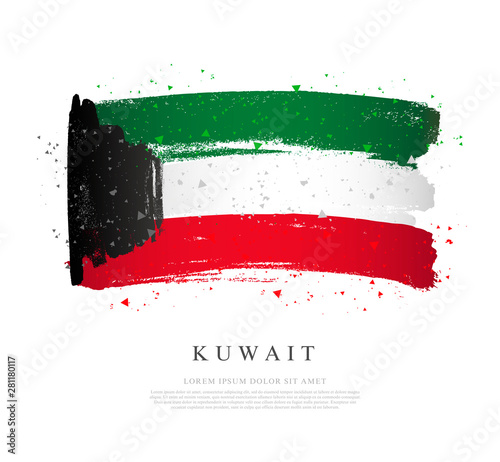 Fényképezés  Kuwait flag. Brush strokes drawn by hand. National Day.