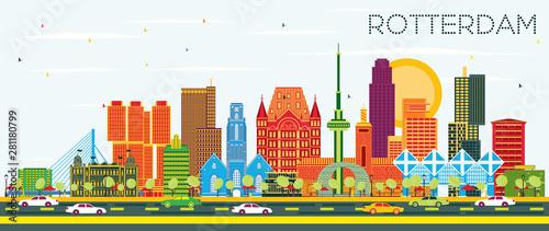Foto auf Gartenposter Rotterdam Rotterdam Netherlands City Skyline with Color Buildings and Blue Sky.
