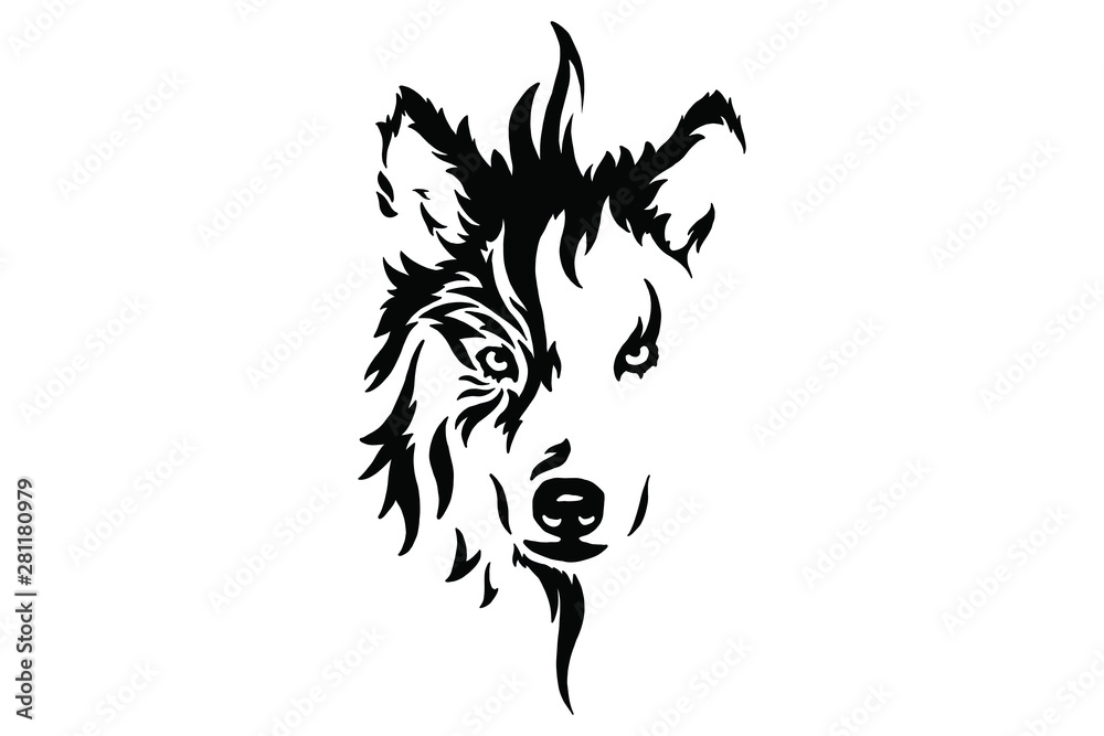 Fototapeta Head of a wolf. Styling the head for your design. Vector illustration, isolated objects.