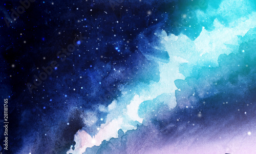Night. The infinite deep starry sky, the Milky Way. Northern Lights Pink and blue streams of light. Mystical boundless universe. Hand-drawn watercolor background illustration.