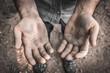 Leinwandbild Motiv Dirty hands of a worker man
