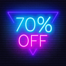 70 Percent Off Neon Lettering On Brick Wall Background
