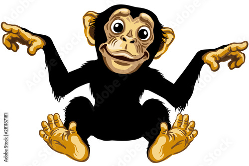 Obraz na plátně cartoon chimp ape or chimpanzee monkey smiling cheerful with a big smile on face