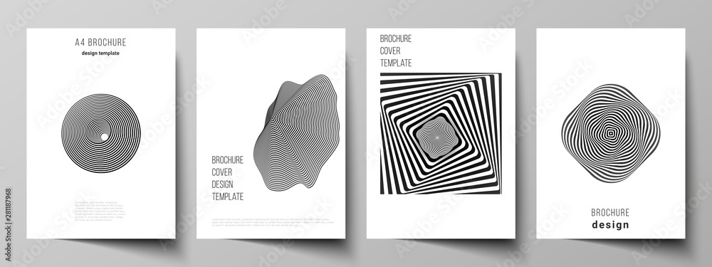 Fototapeta Vector layout of A4 format modern cover mockups design templates for brochure, magazine, flyer, booklet, report. Abstract 3D geometrical background with optical illusion black and white design pattern