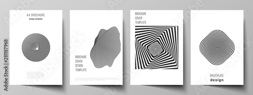 Obraz Vector layout of A4 format modern cover mockups design templates for brochure, magazine, flyer, booklet, report. Abstract 3D geometrical background with optical illusion black and white design pattern - fototapety do salonu