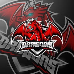 Fototapeta Zwierzęta Red dragon esports logo design
