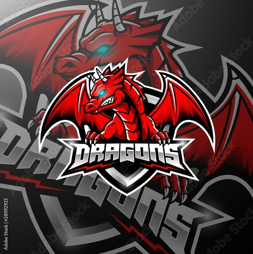Red dragon esports logo design #281192925