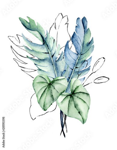 Watercolor Tropical Leaves Arrangement Jungle Plants For Stationary Greetings Etc Aloha Party Floral Decoration Hand Drawing Buy This Stock Illustration And Explore Similar Illustrations At Adobe Stock Adobe Stock Tropical leaf watercolor artistic tropical leaf cleaves flowers rose myrtle realistic green summer leaves leaves view our latest collection of free watercolor tropical leaf arrangement png images with. watercolor tropical leaves arrangement