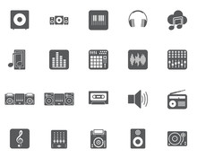 Dj Music Vector Icons Set, Modern Solid Symbol Collection, Filled Style Pictogram Pack. Signs, Logo Illustration. Set Includes Icons As Sound Speaker, Mixer, Vinyl, Equalizer, Headphones, Record Beat