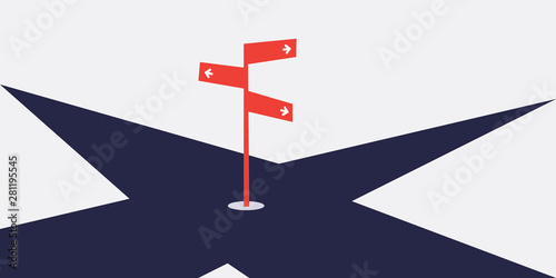 Fotografiet Business Decision Design Concept with Crossroads and a Road Sign - Eps10 Vector