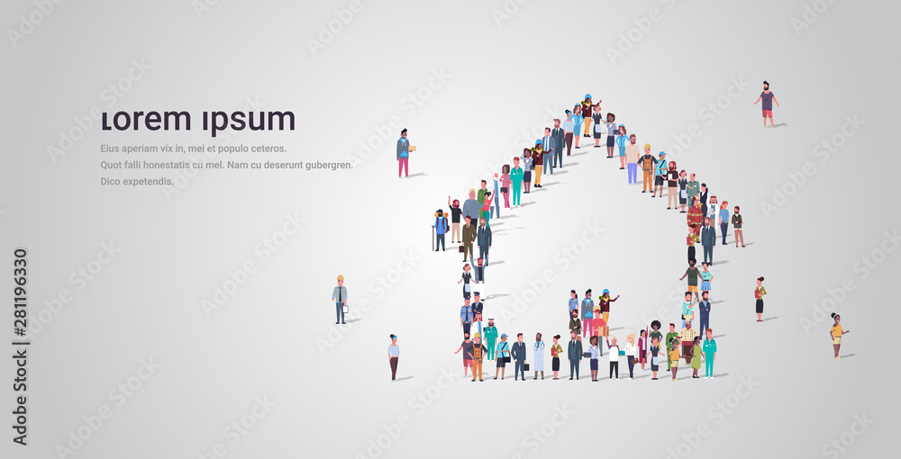 Fototapeta people crowd gathering in home icon shape social media community house building concept different occupation employees group standing together full length horizontal copy space