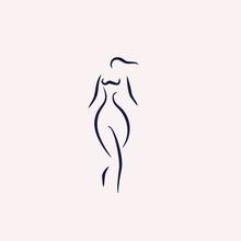 Woman Body Shape Line Illustration Vector