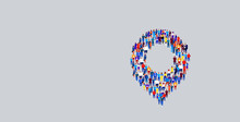 Businesspeople Crowd Gathering In Location Geo Tag Icon Shape Different Business People Group Standing Together Social Media Community Navigation Concept Horizontal