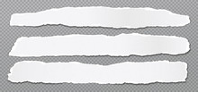 Piece Of Torn, White Realistic Horizontal Paper Strips With Soft Shadow Are On Grey Squared Background. Vector Illustration