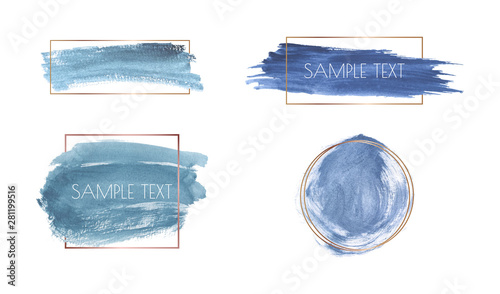 Valokuva  Blue brush stroke watercolor texture with gold polygonal frames