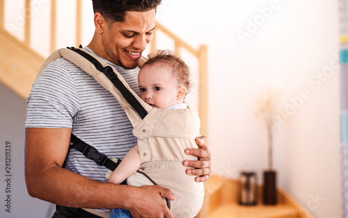 A father with small toddler son in carrier indoors at home. Canvas Print