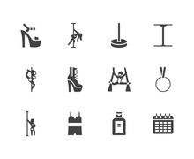 Pole Dance Flat Glyph Icons Se...