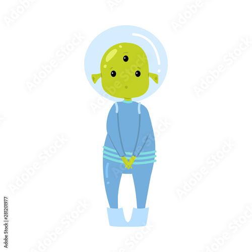 Valokuva Cute green alien in blue clothes is hesitate to ask