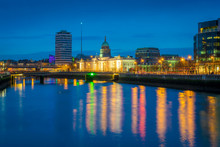 View To Custom House And River Liffey In Dublin At Dusk - Ireland