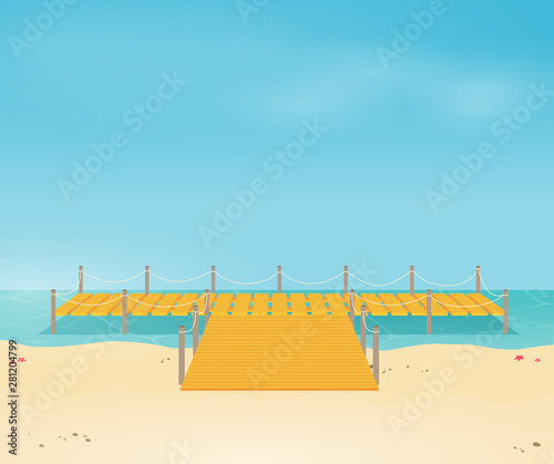 Photo Tropical ocean landscape with wooden dock vector