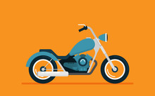 Flat Vector Motorcycle On Color Background