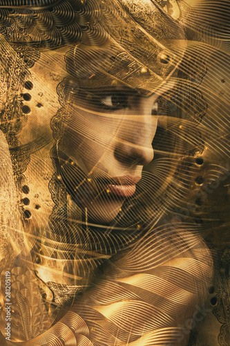 golden woman warrior portria combine photo Wallpaper Mural