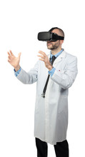 Doctor Uses Virtual Reality Glasses To Simulate An Operation.