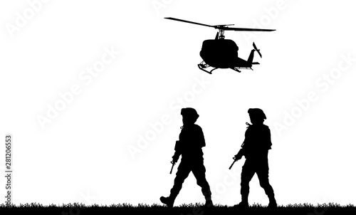Navy seal silhouettes  on w...