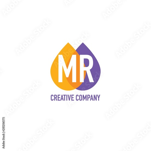 Initial Letter MR Water Oil Icon Logo Design Template Wallpaper Mural
