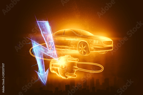 Fotografie, Obraz  Creative background, Electric car with charging wire, hologram, electricity sign