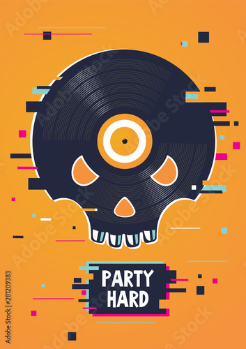 Photo Music party poster with skull and vinyl record