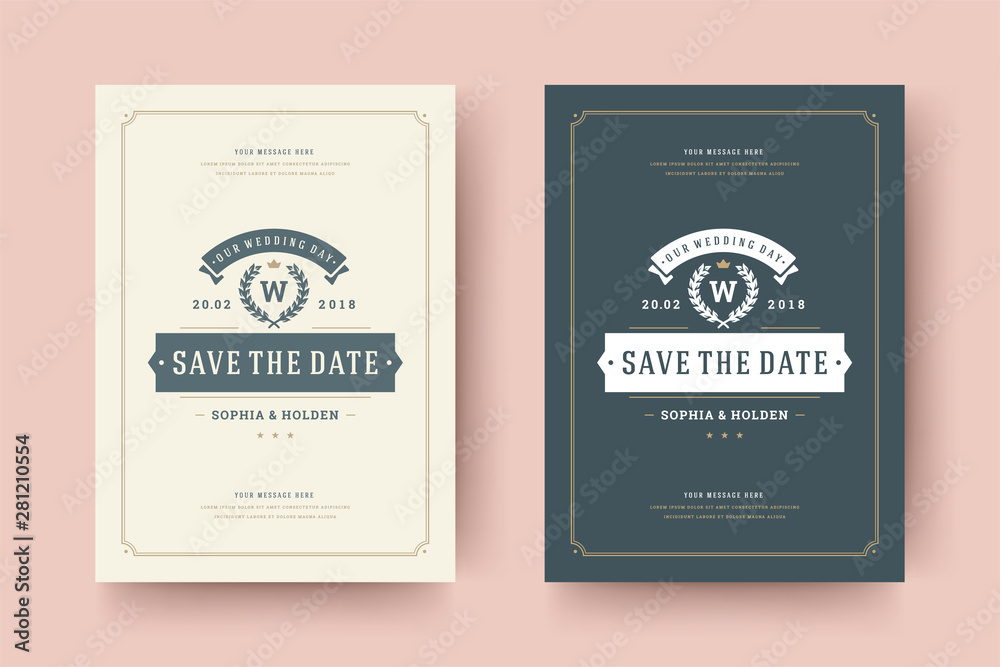 Wedding Save The Date Invitation Card Vector Illustration