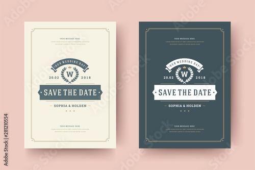 Fotografía  Wedding save the date invitation card vector illustration.