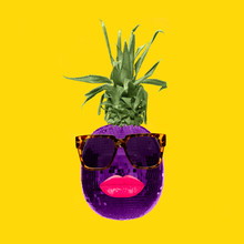 Contemporary Art Collage. Concept Disco Ball Pineapple With Pink Lips And Sunglasses On Yellow Background