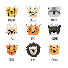 Vector Set Of 9 Wild Cats In Scandinavian Style. Set Of Stickers, Isolates.