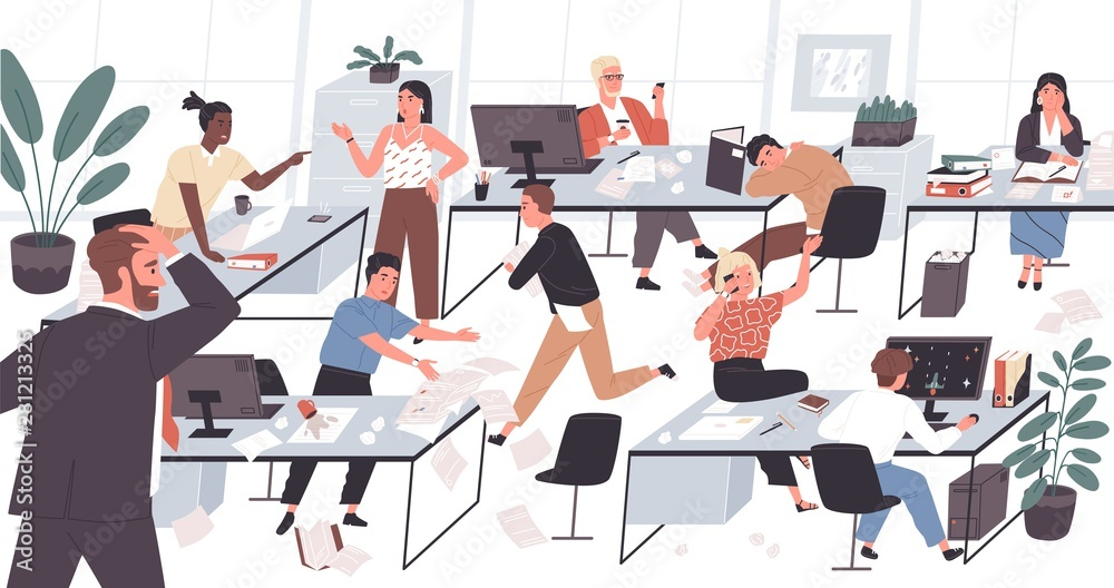 Fototapety, obrazy: Unorganized office with lazy and unmotivated workers. Concept of difficulties and problems with organization at work, chaos, mess and disorder at workplace. Flat cartoon colorful vector illustration.
