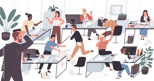 Unorganized office with lazy and unmotivated workers. Concept of difficulties and problems with organization at work, chaos, mess and disorder at workplace. Flat cartoon colorful vector illustration.