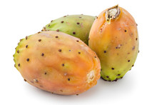 Prickly Pears, Opuntia, Indian Fig, Ficus-indica Fruit Isolated On A White Background