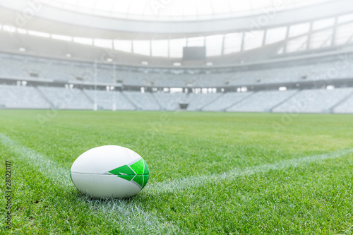 Rugby ball on a grass in the stadium